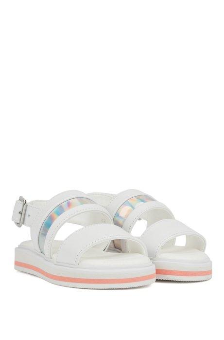 Sandali con fascia da bambino in pelle con rifinitura iridescente, Bianco