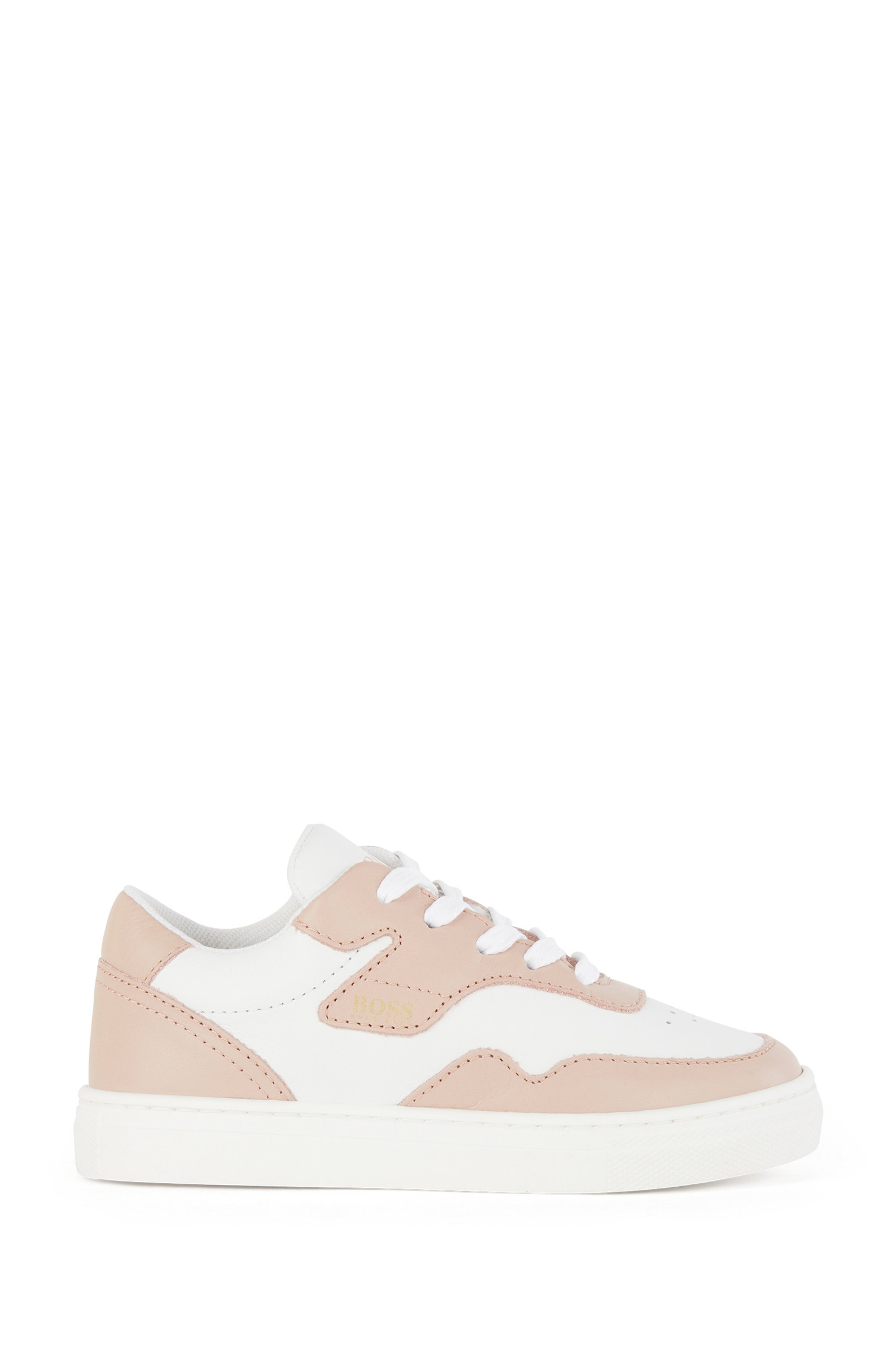 Kids' low-top trainers in two-toned leather