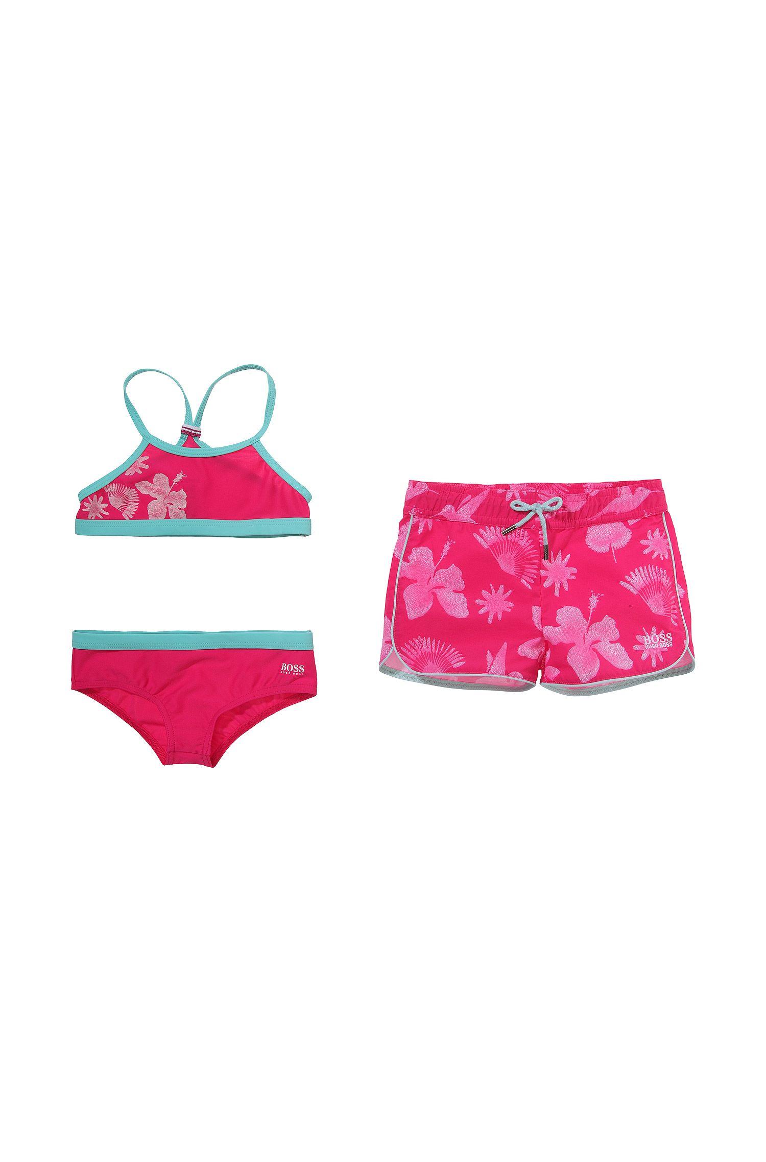 Kids-Set´J1K015` mit Bikini und Badeshorts aus leichtem Polyamid