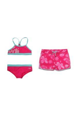Kids-Set´J1K015` mit Bikini und Badeshorts aus leichtem Polyamid, Dunkelrosa