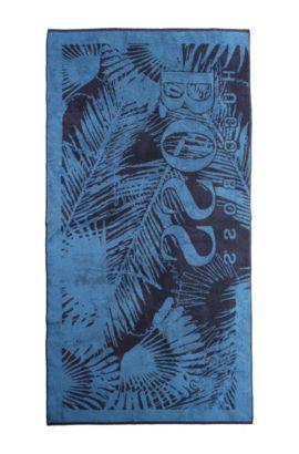 Serviette de plage «J20159» en coton éponge, Bleu foncé