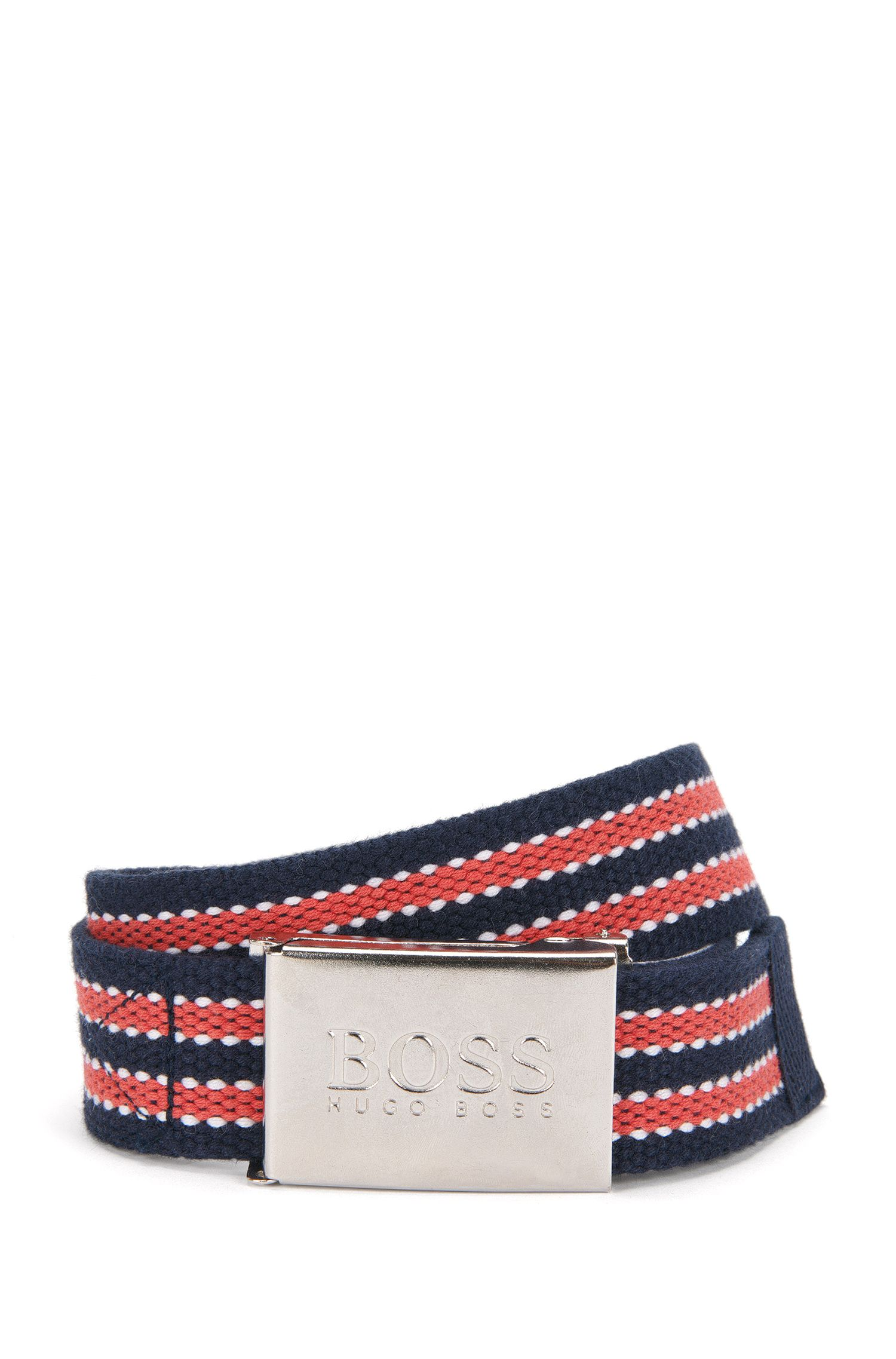 Striped belt with snap buckle: 'J20190'