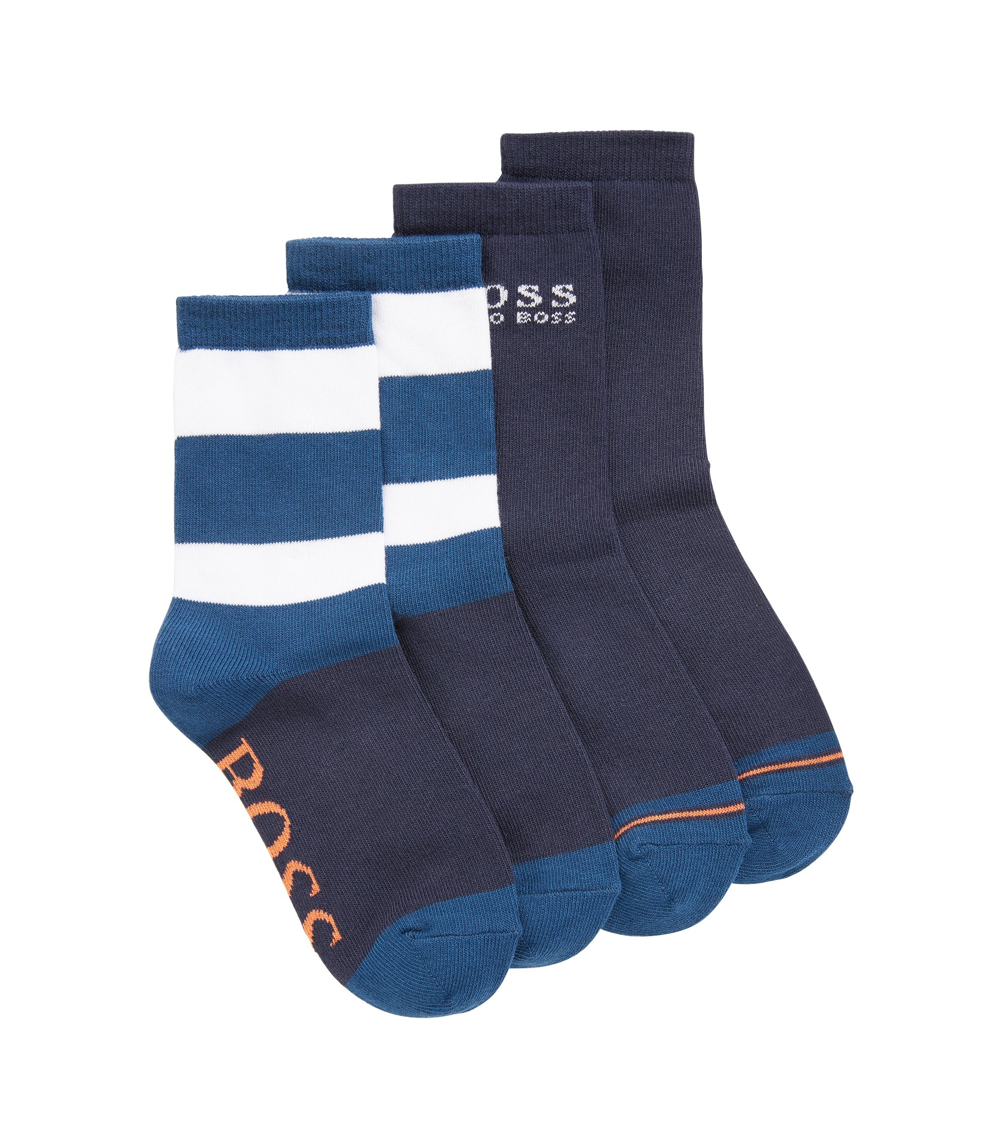 Kids-Socken aus elastischem Baumwoll-Mix im Zweier-Pack, Dunkelblau
