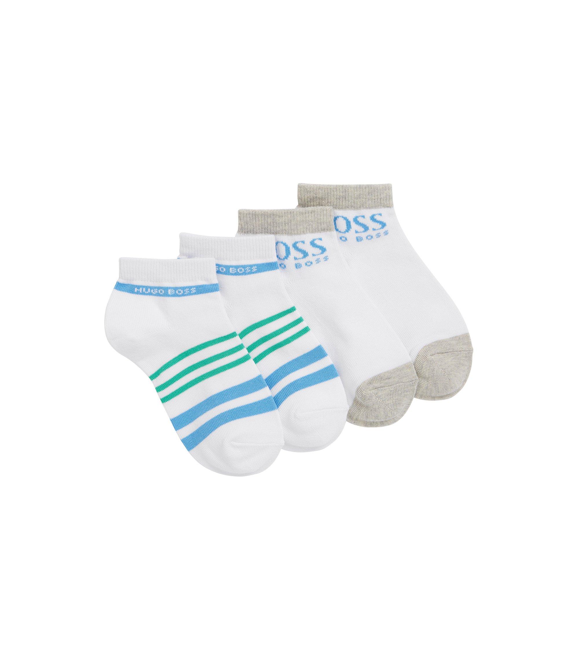 Chaussettes pour enfant en coton mélangé extensible, en lot de 2: «J20210», Blanc