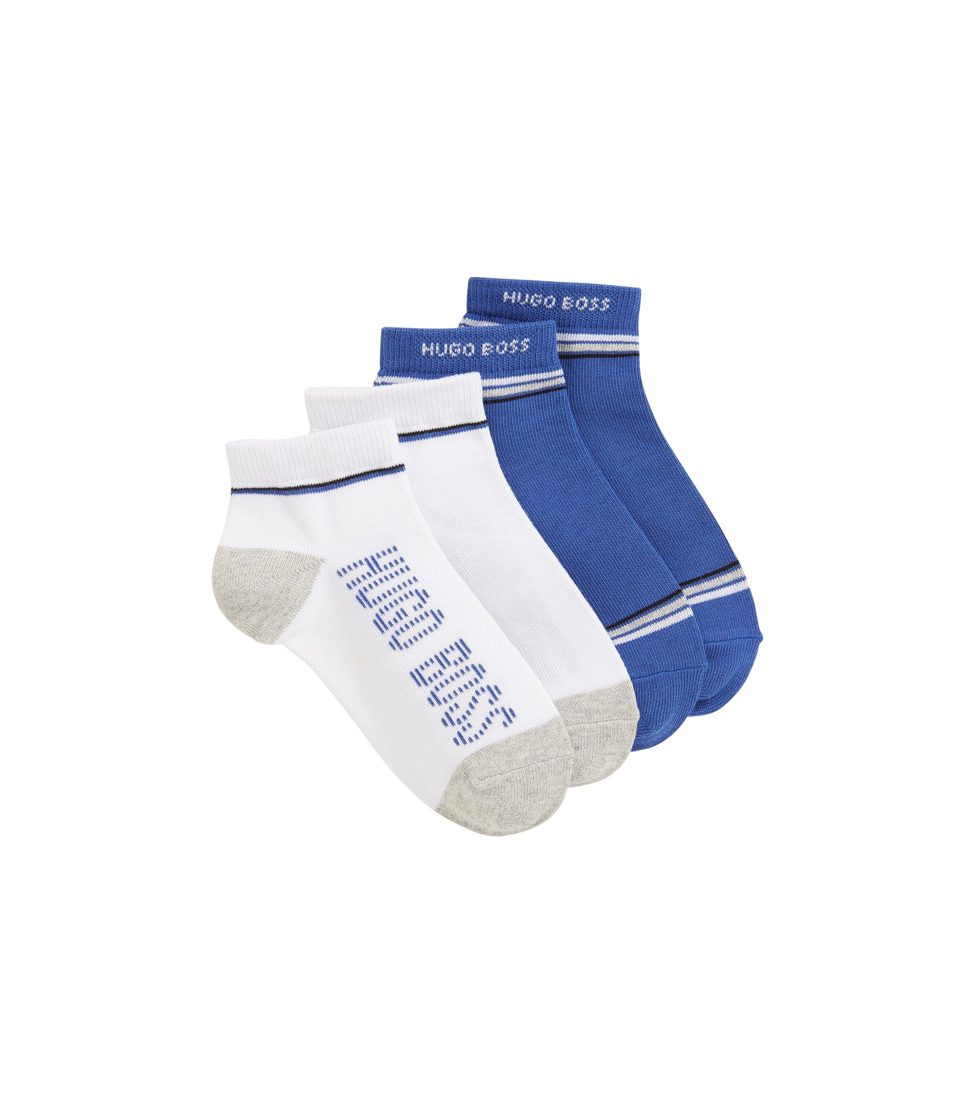 Kids' two-pack of ankle socks in a stretch-cotton blend, Patterned