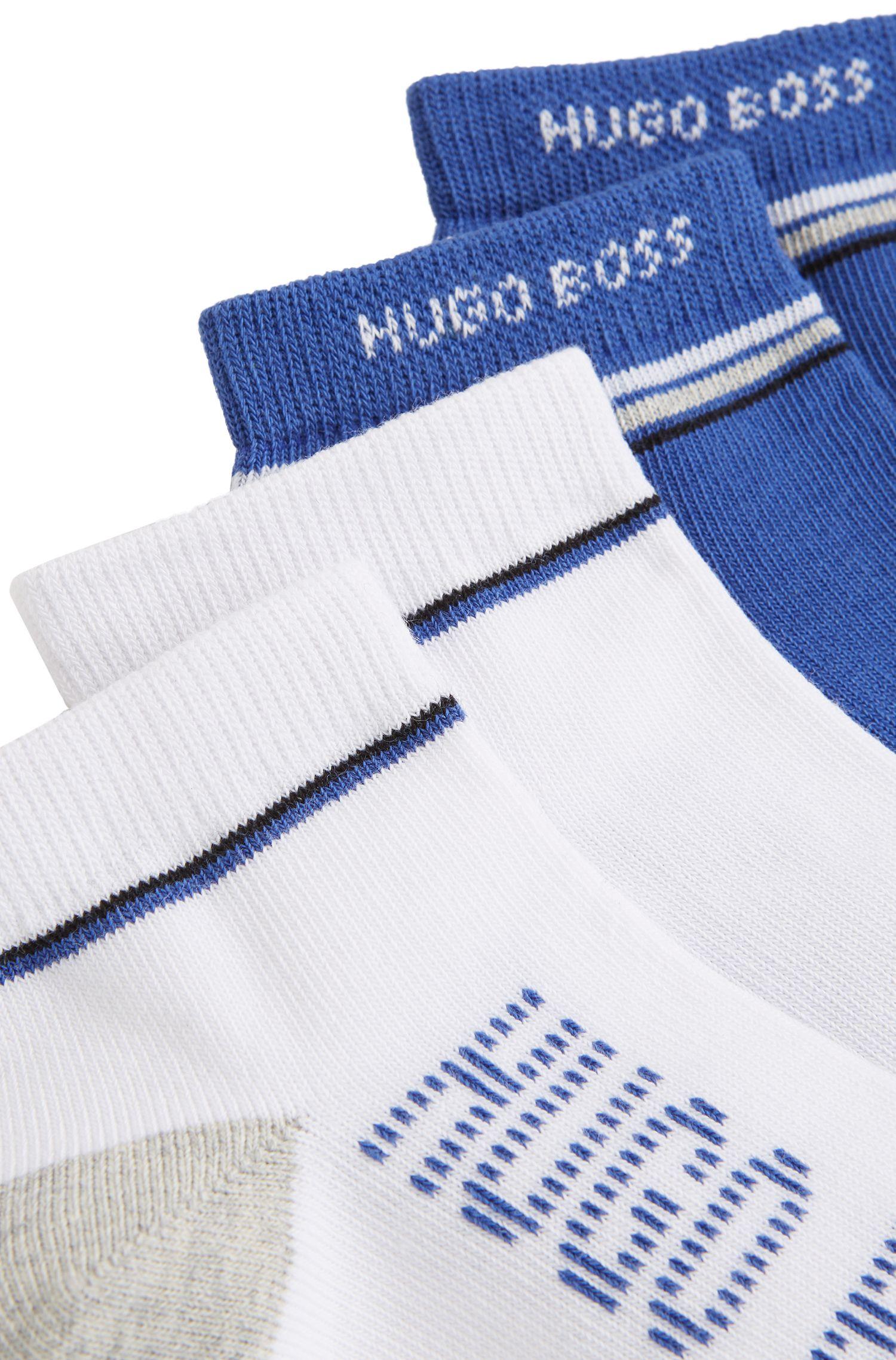 Kids-Sneaker-Socken aus elastischem Baumwoll-Mix im Zweier-Pack, Gemustert