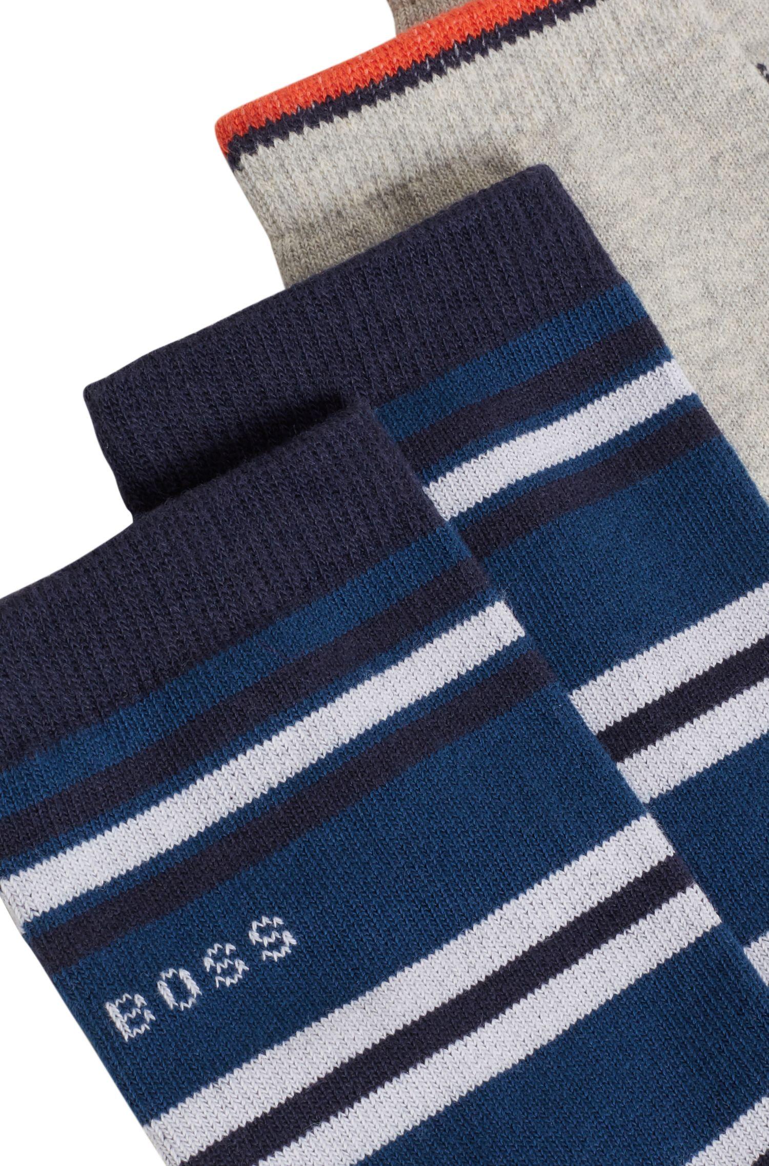 Lot de deux paires de chaussettes pour enfant, en coton mélangé, Bleu foncé