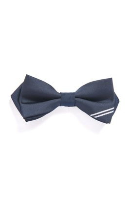 Kids' bow tie with jacquard-woven logo, Dark Blue