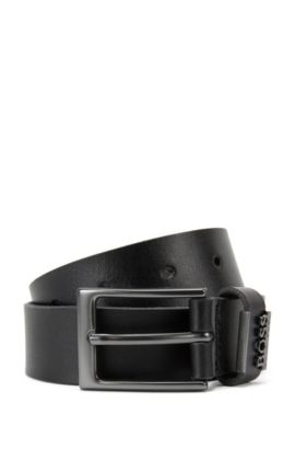 Kids' leather belt with a pin buckle: 'J20V74', Black