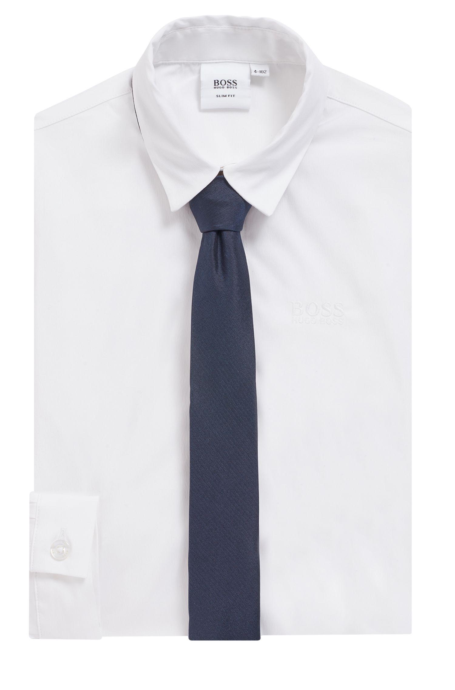 Cravate pour enfant en pure soie avec sac de protection, Bleu foncé