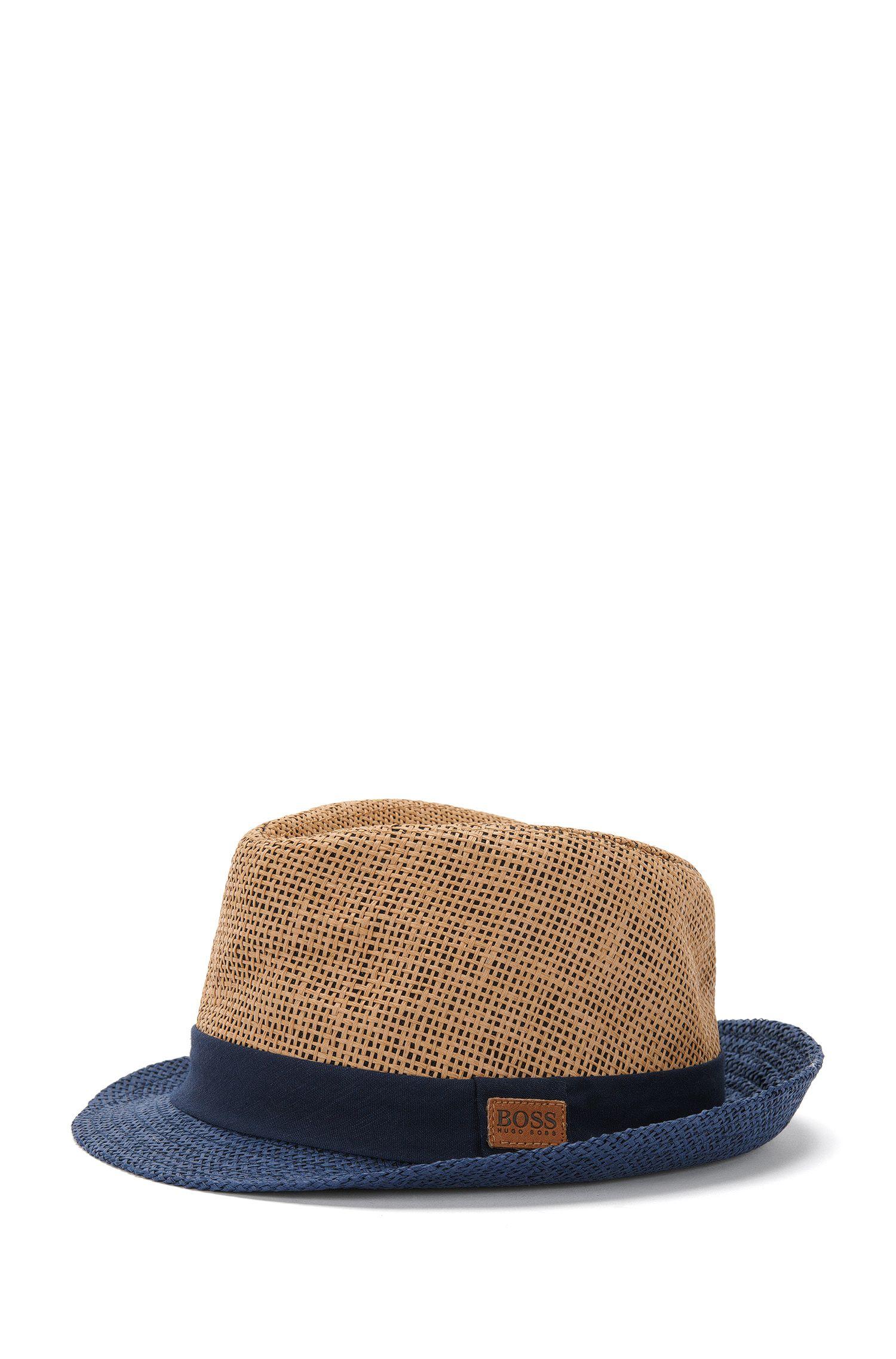 Chapeau de paille pour enfant avec bord contrastant finition denim: «J21164»