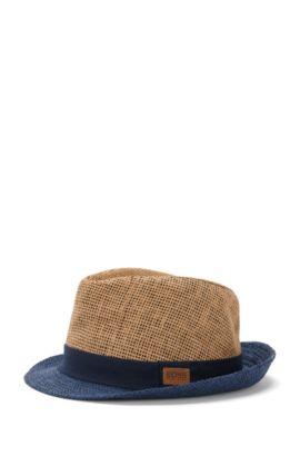 Chapeau de paille pour enfant avec bord contrastant finition denim: «J21164», Beige