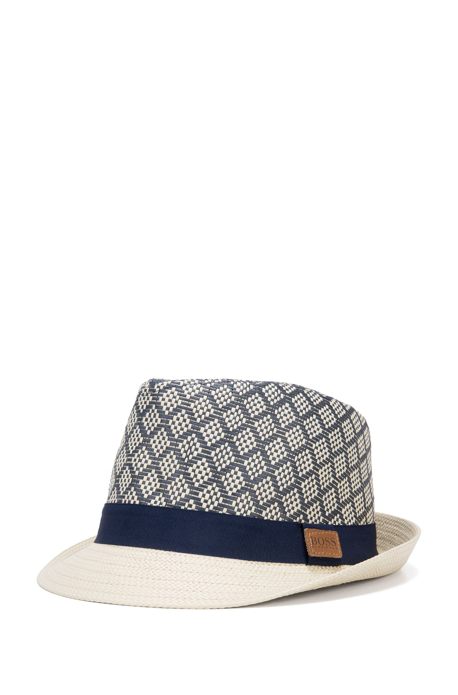 Kid's hat in paper straw with contrasting hatband: 'J21178'