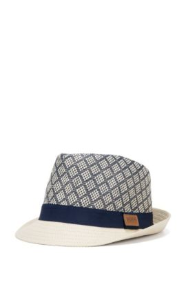 Kids-Hut aus Papierstroh mit Kontrast-Hutband: 'J21178', Dunkelblau
