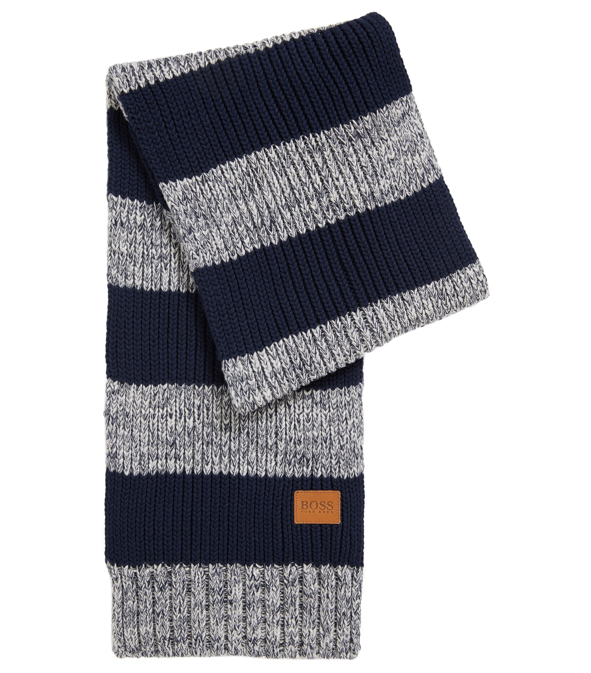 Kids' striped scarf in knitted cotton , Patterned