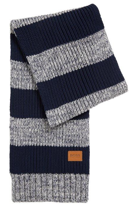 Kids-Schal aus gestrickter Baumwolle mit Streifen-Muster , Gemustert