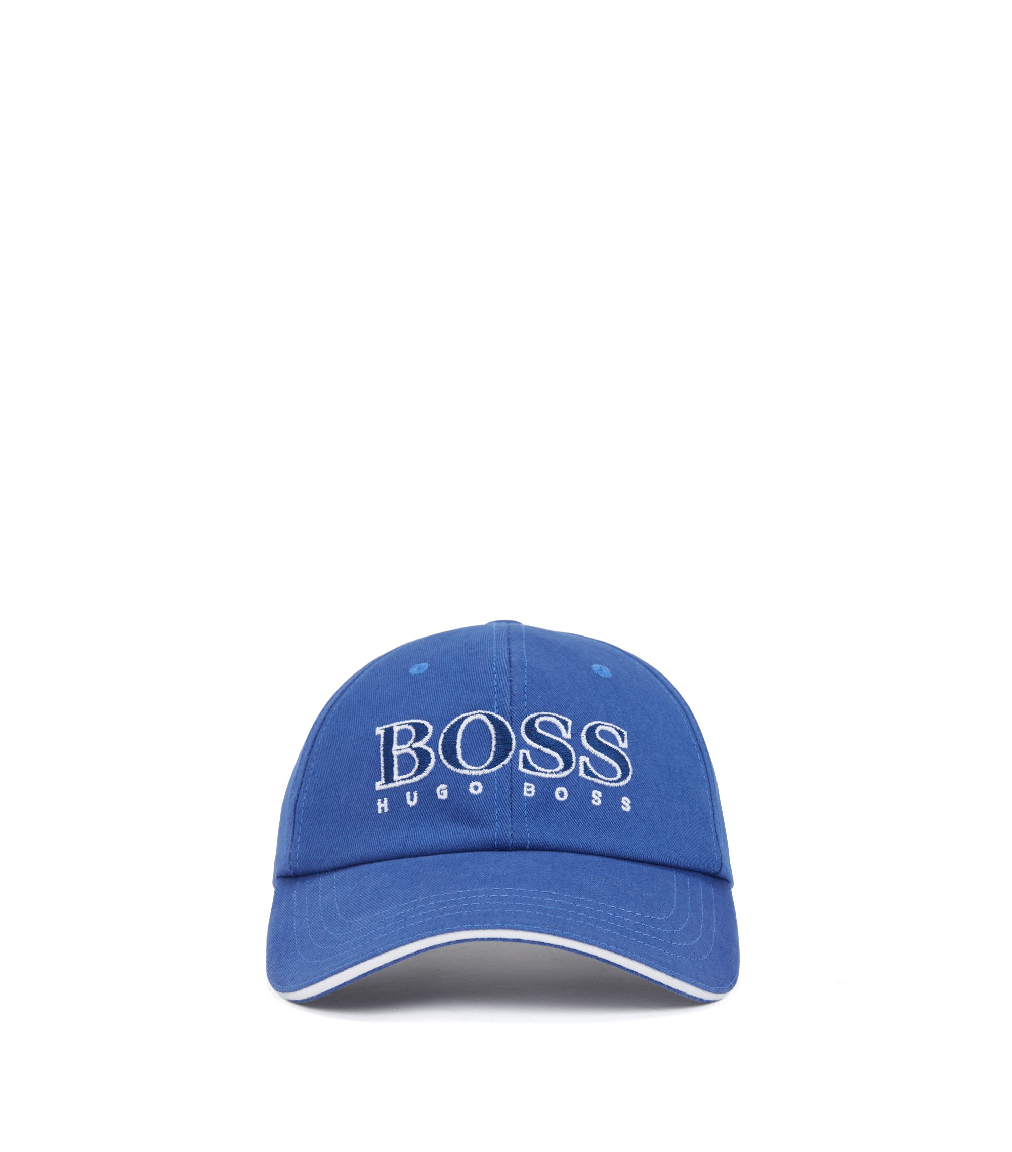Kids' cotton-twill baseball cap with embroidered logo, Blue