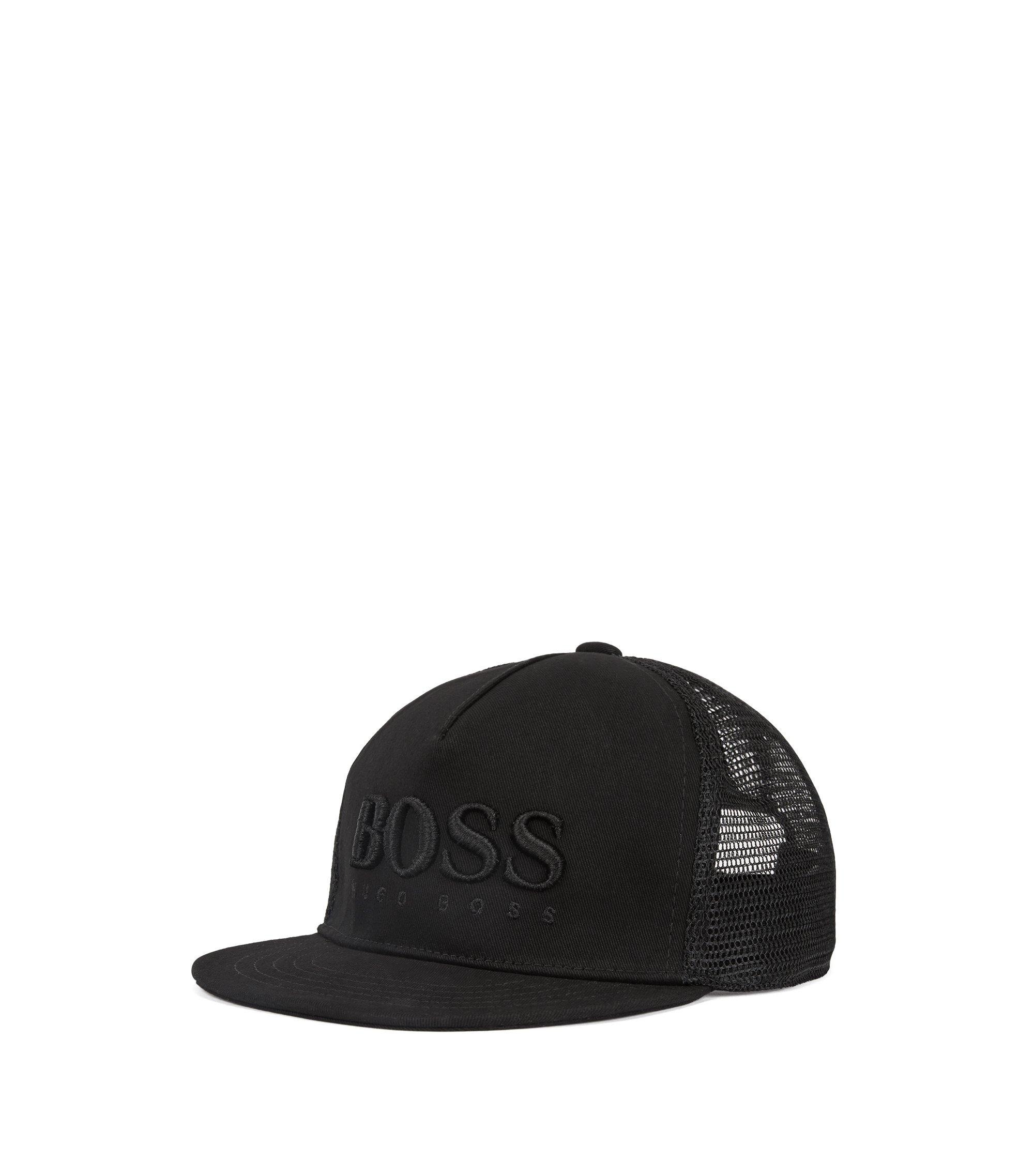 Kids' logo-embroidered baseball cap with mesh panel, Black
