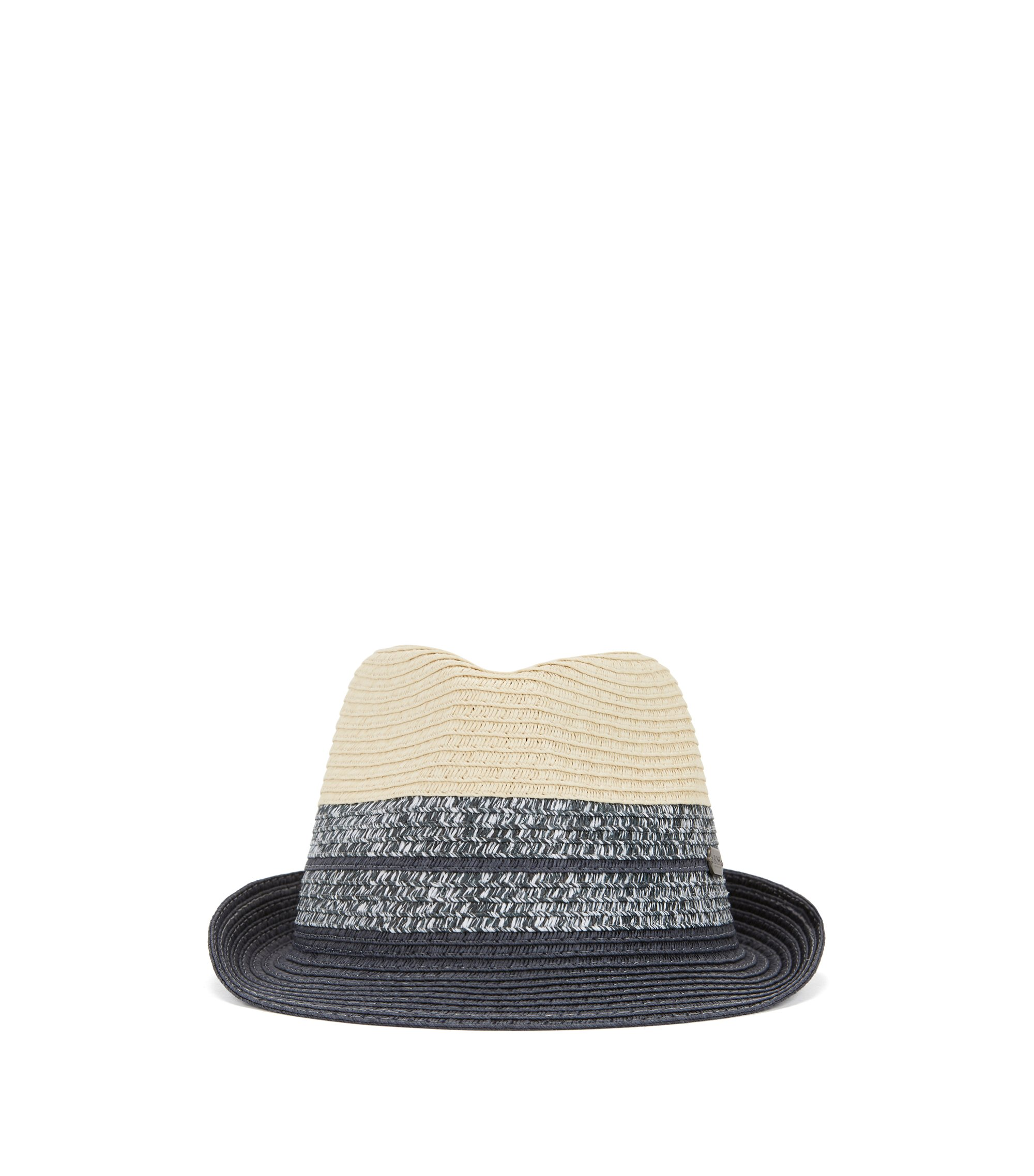 Kids' paper Panama hat with metal badge , Patterned