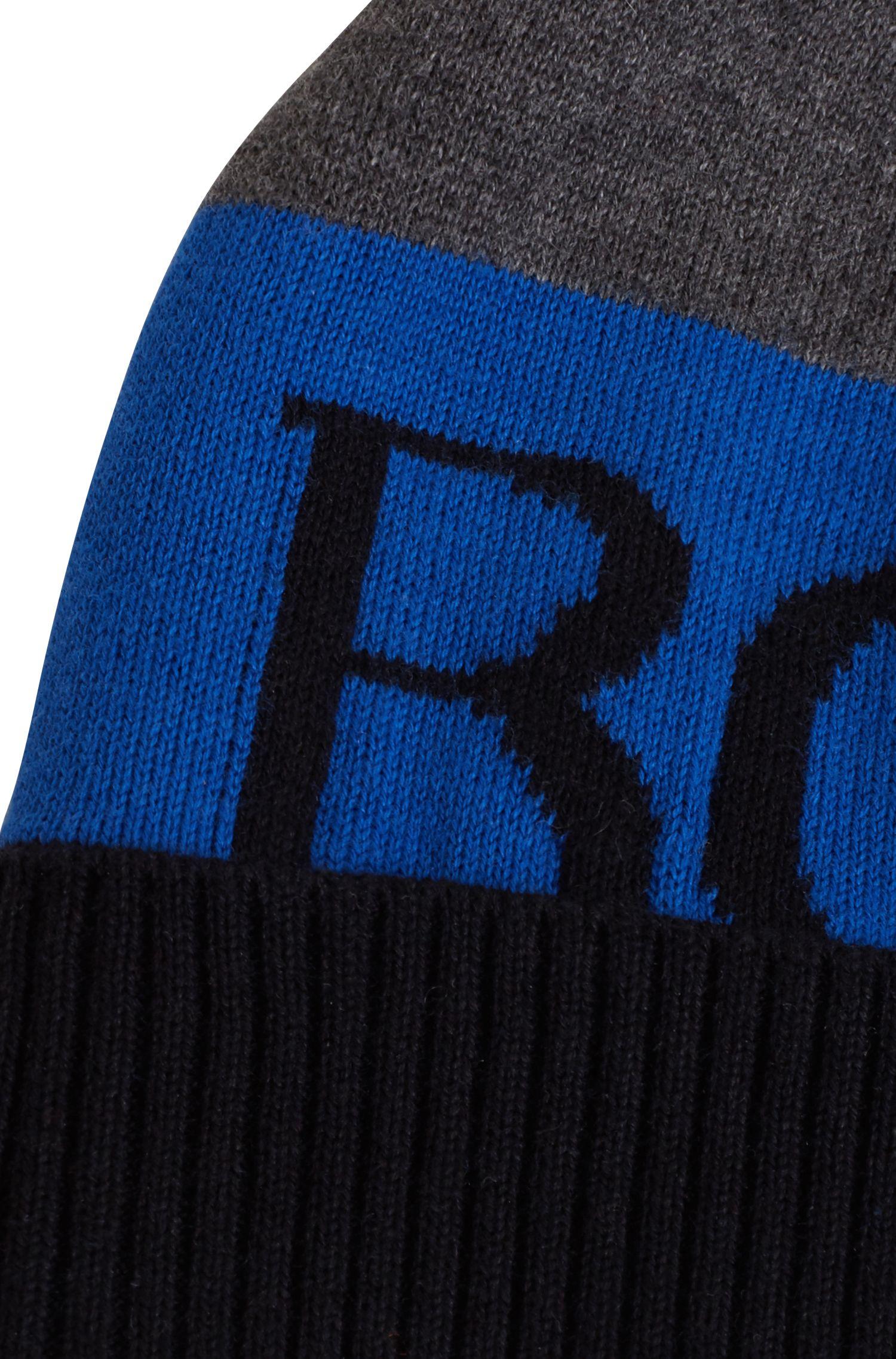 Kindermuts van gekamde katoen met logo in jacquard, Blauw