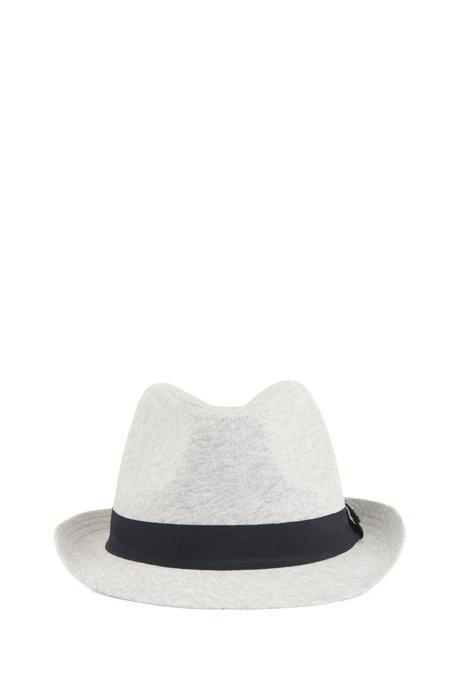 Cappello Panama da bambino in jersey di cotone, Grigio chiaro