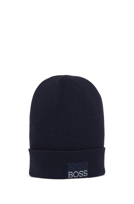 Kids' knitted beanie hat with logo details, Dark Blue