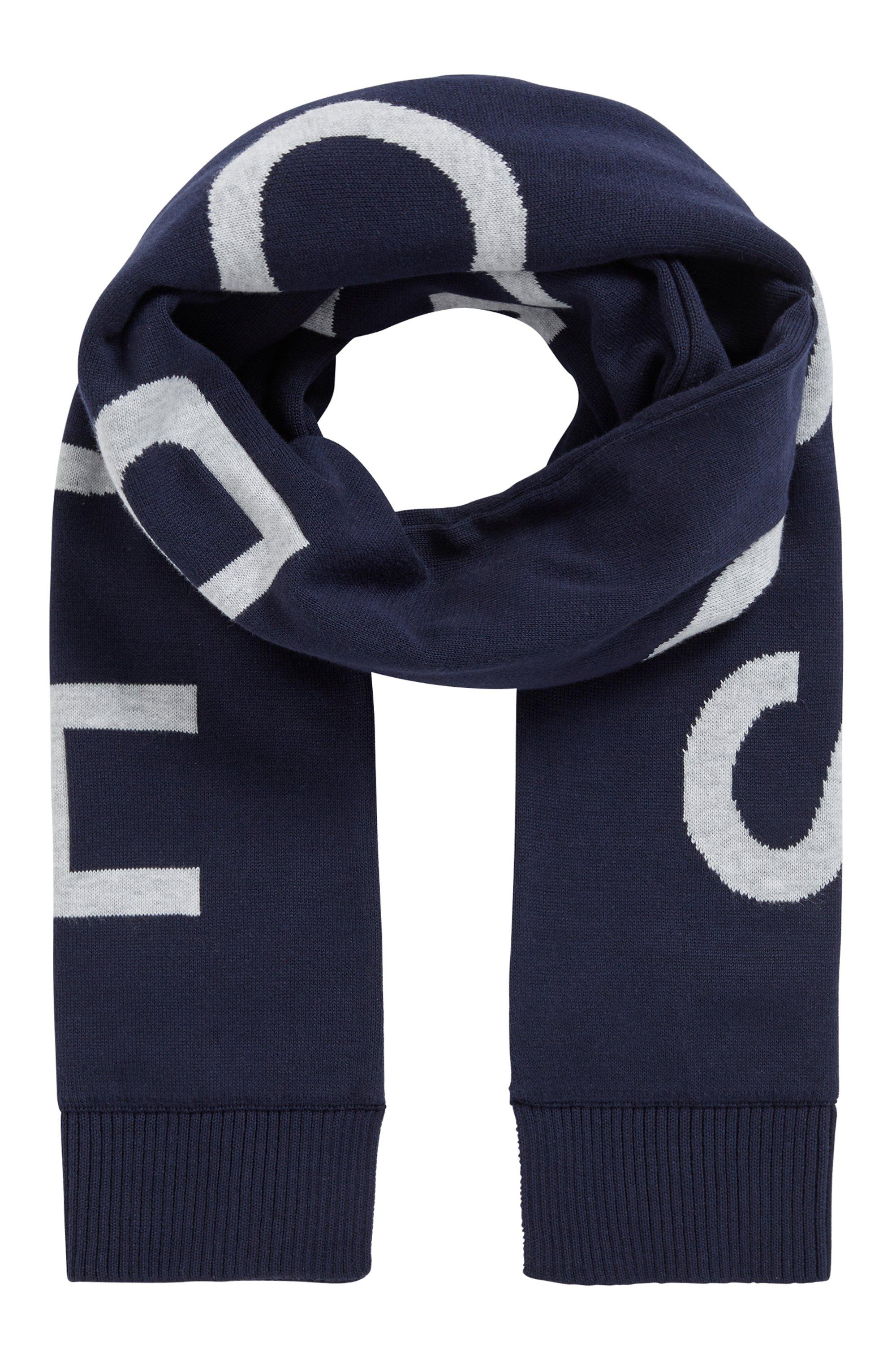 Écharpe pour enfant en coton peigné avec logo intarsia