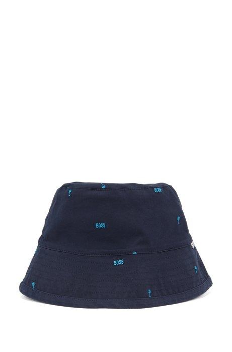 Tweezijdig te dragen kinderhoedje in een twill van stretchkatoen met logo, Donkerblauw