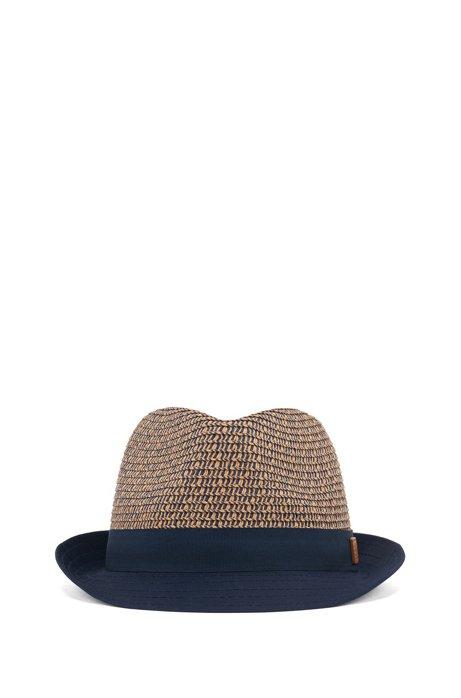 Chapeau de paille pour enfant avec étiquette logo en cuir, Bleu foncé