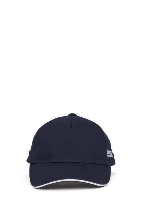 Kids-Cap aus Baumwoll-Twill mit kontrastfarbenem Streifen und Logo, Dunkelblau