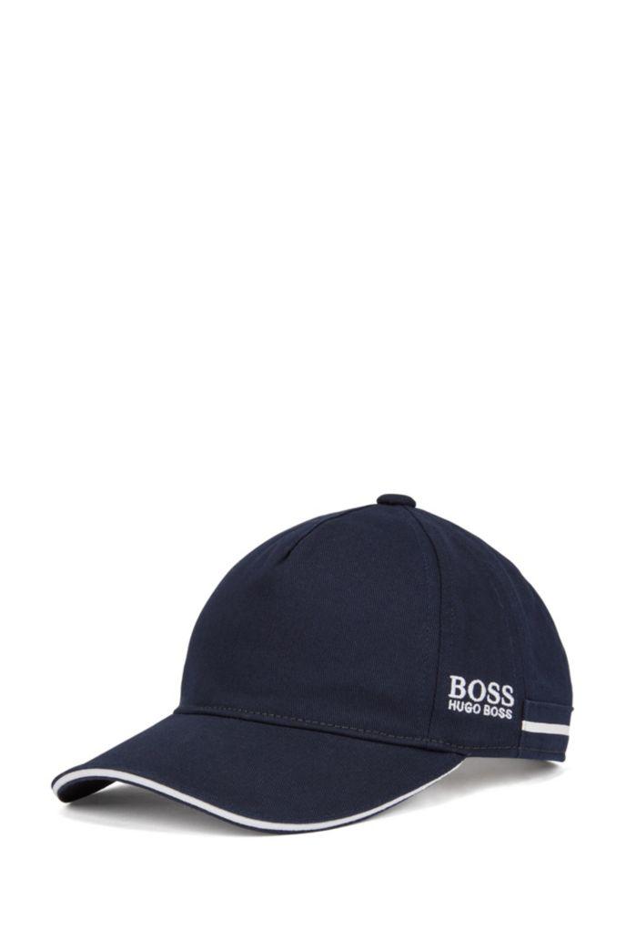 Kids-Cap aus Baumwoll-Twill mit kontrastfarbenem Streifen und Logo