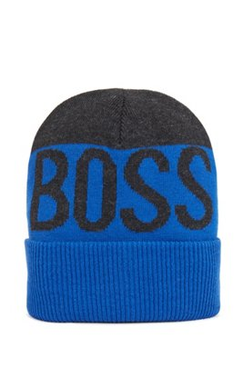 Kids' logo beanie hat with double-layer knit, Blue