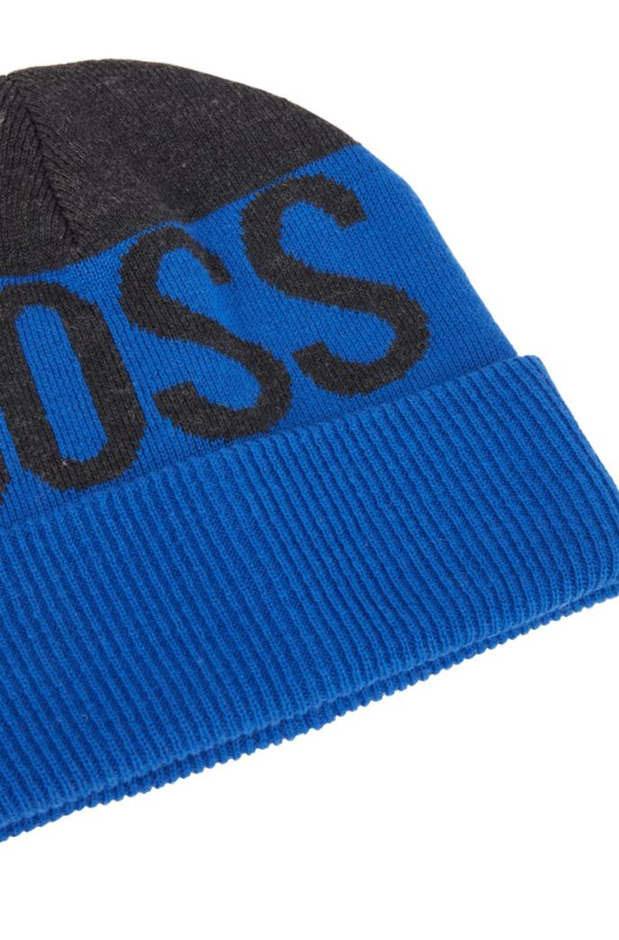 Kids' logo beanie hat with double-layer knit