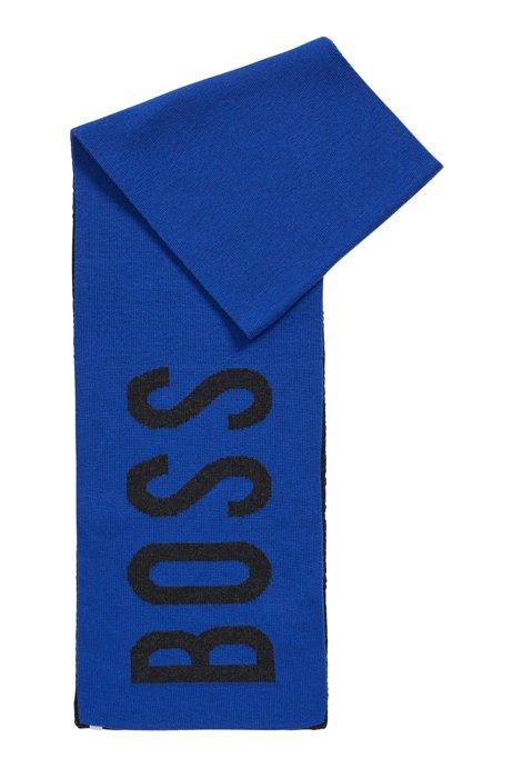 Écharpe color block à logo jacquard tissé pour enfant, Bleu