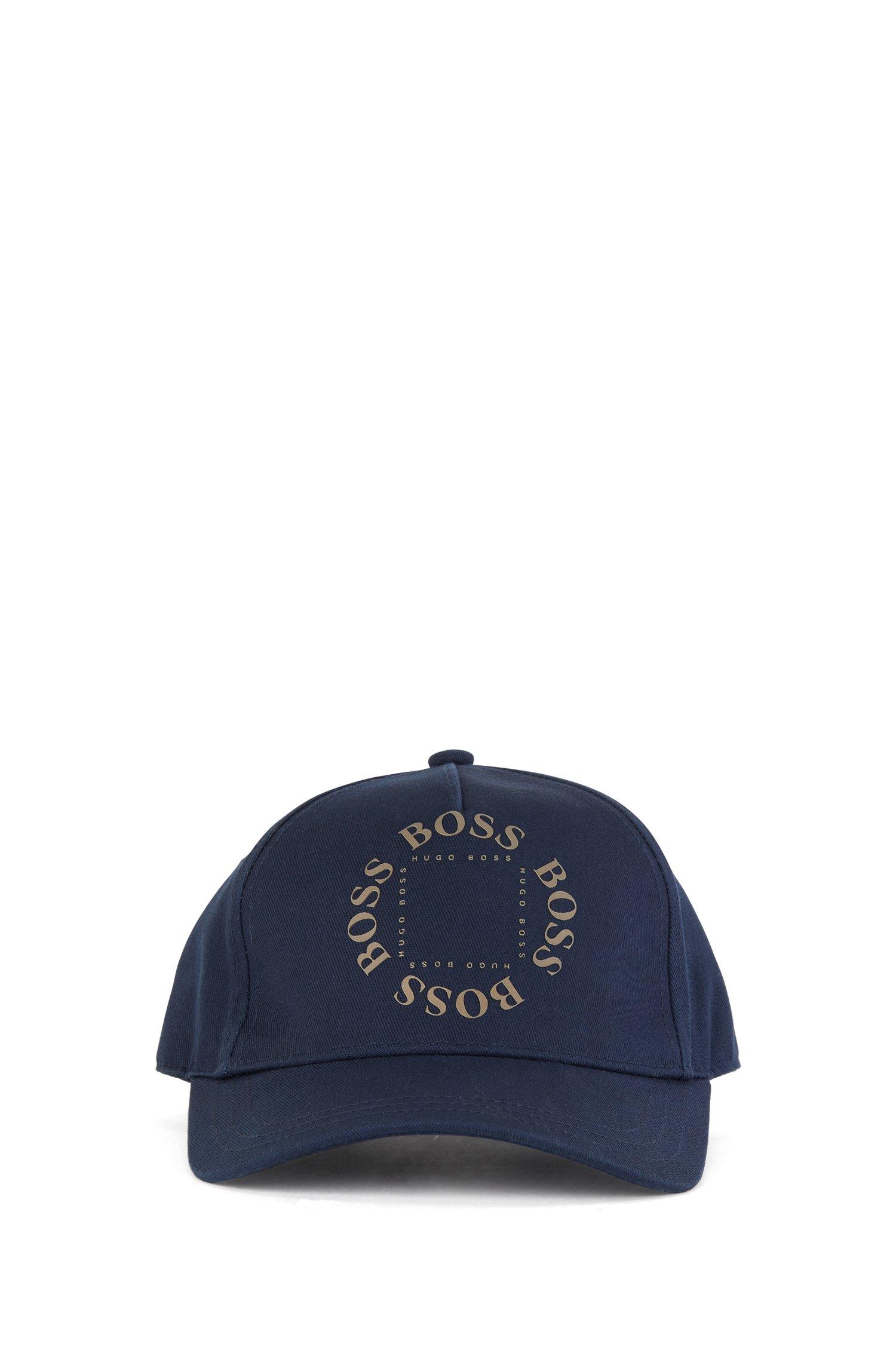 Gorra para niños en sarga de algodón con logo dorado estampado, Azul oscuro