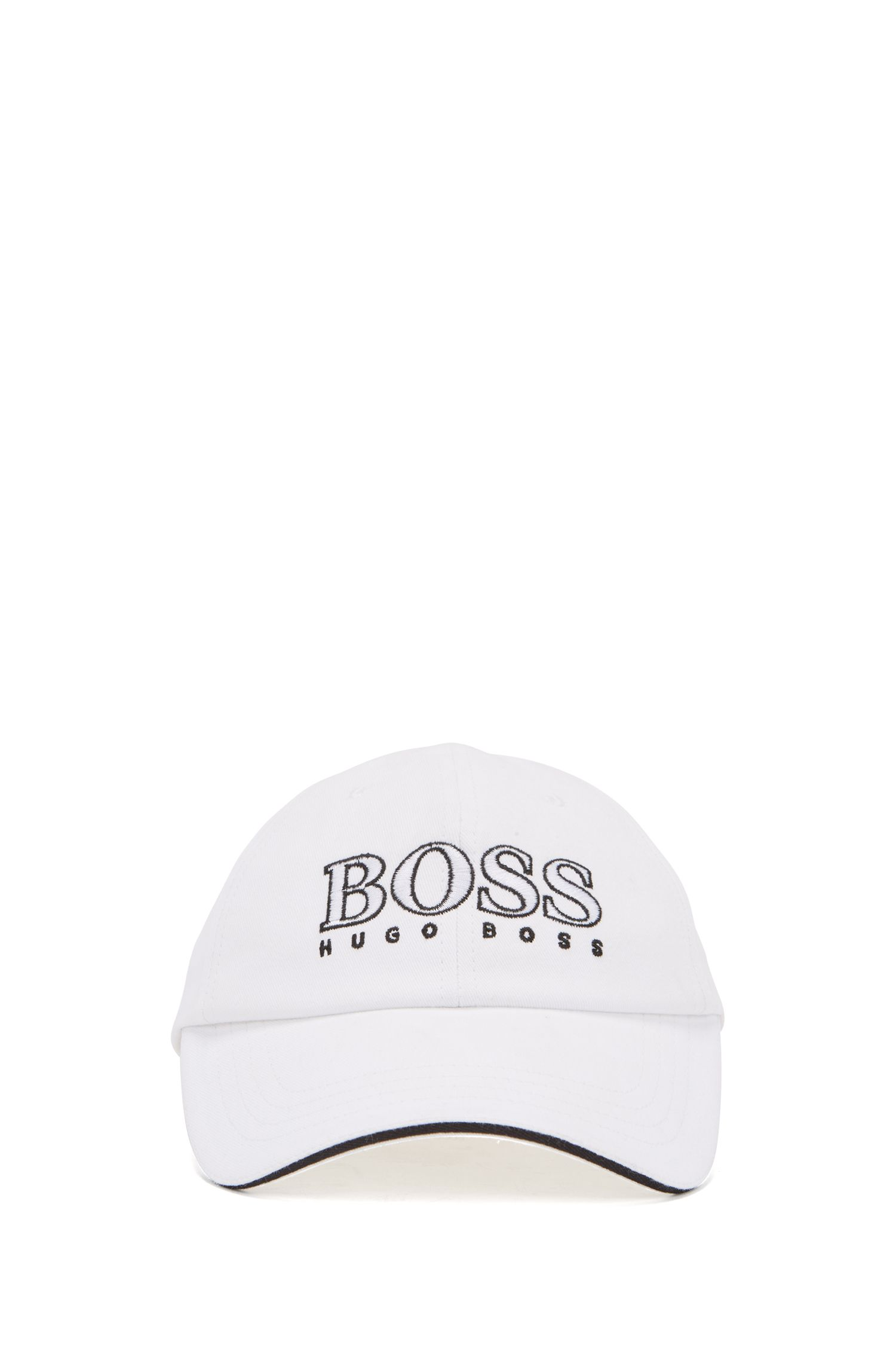 Kids' logo-embroidered cap in cotton twill, White