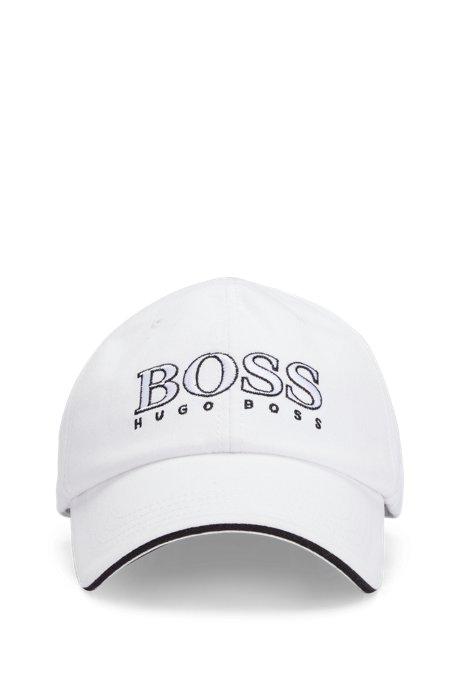 Cappellino da bambino in twill di cotone con logo ricamato, Bianco