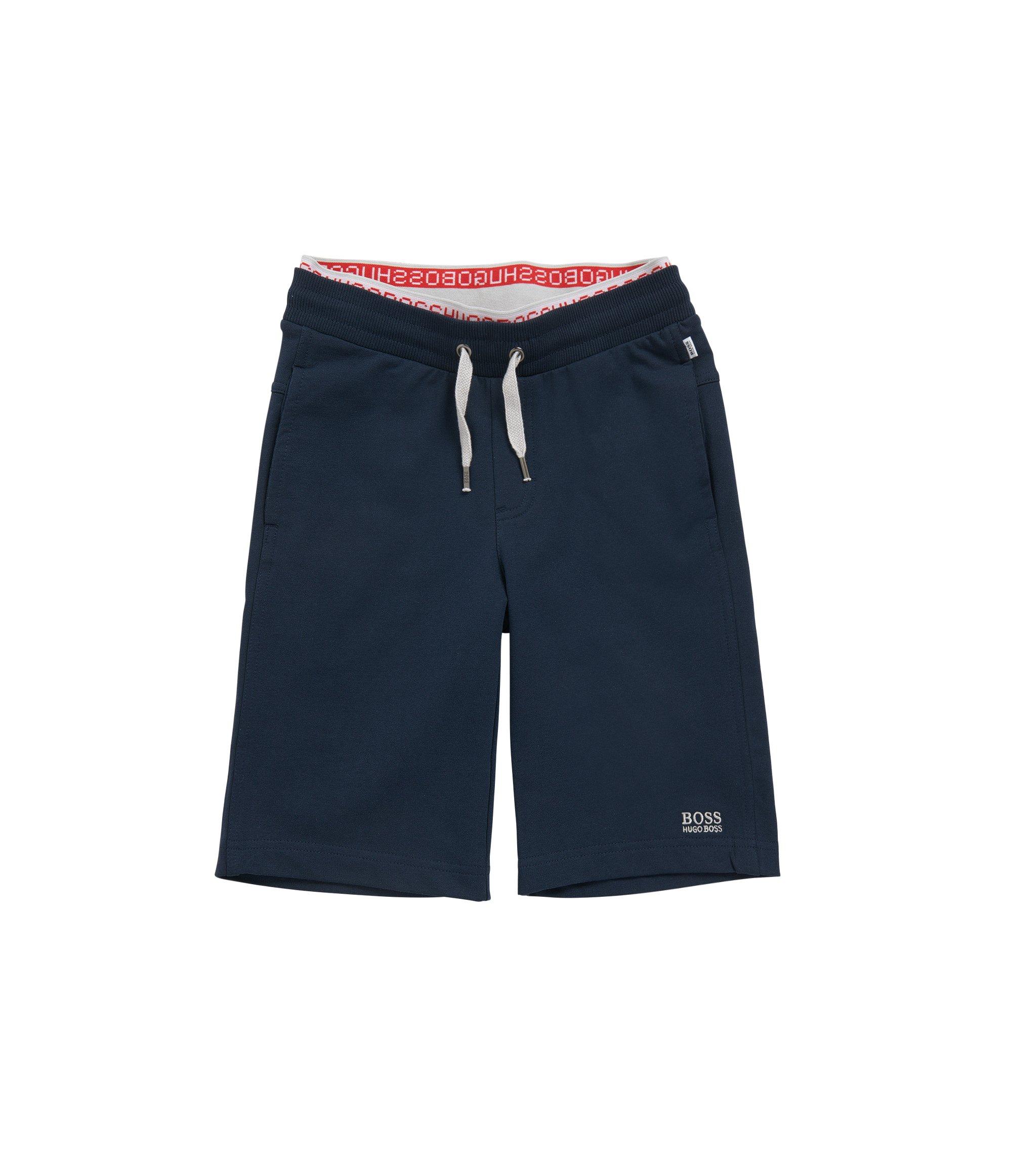Plain kids' tracksuit bottoms in stretch cotton: 'J24384', Dark Blue