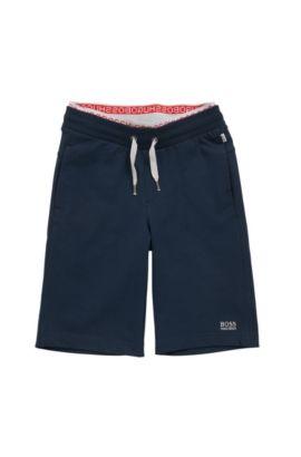 Pantalon molletonné pour enfant uni, en coton stretch: «J24384», Bleu foncé
