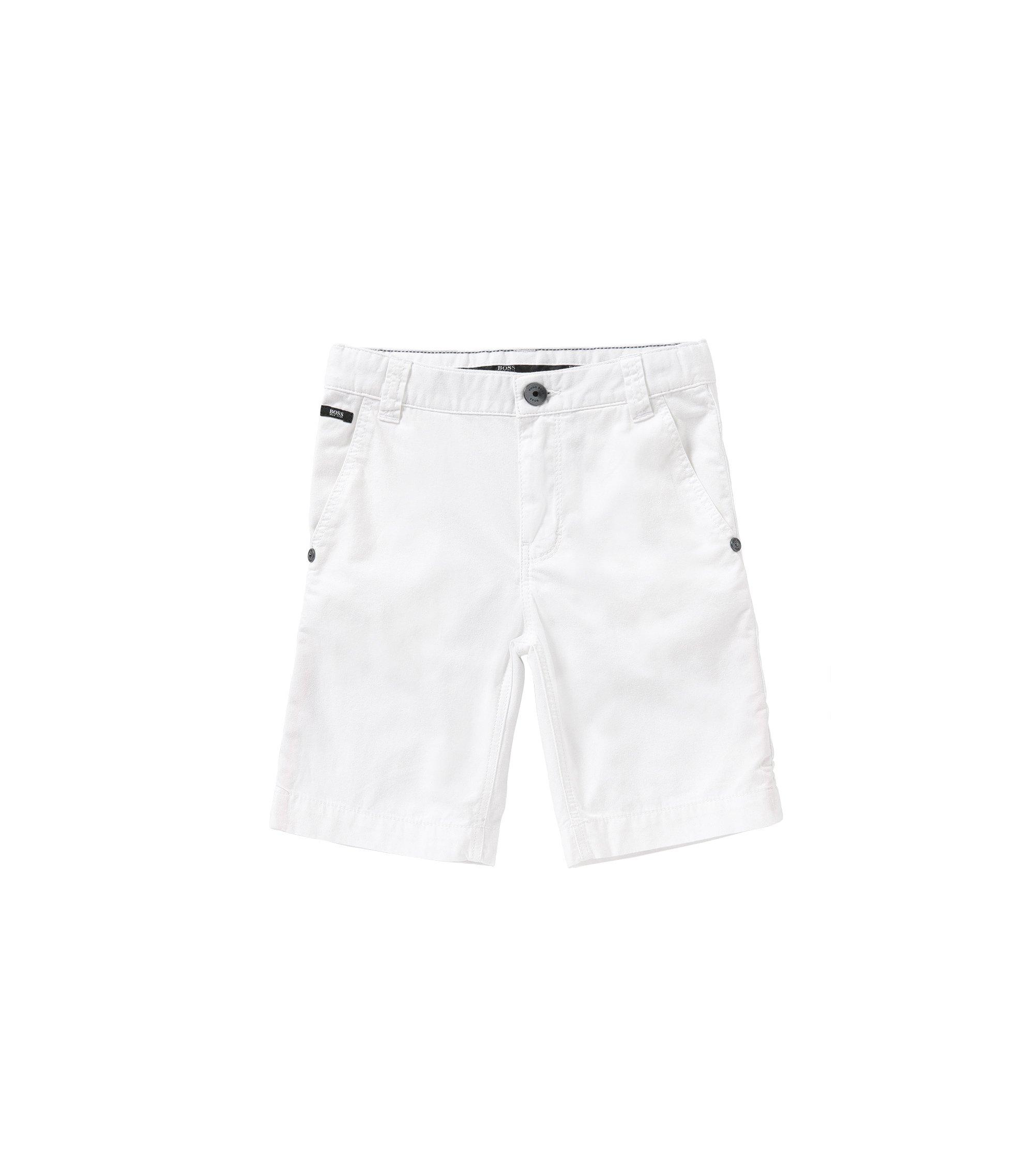 Regular-Fit Kids-Shorts aus reiner Baumwolle: 'J24386', Weiß