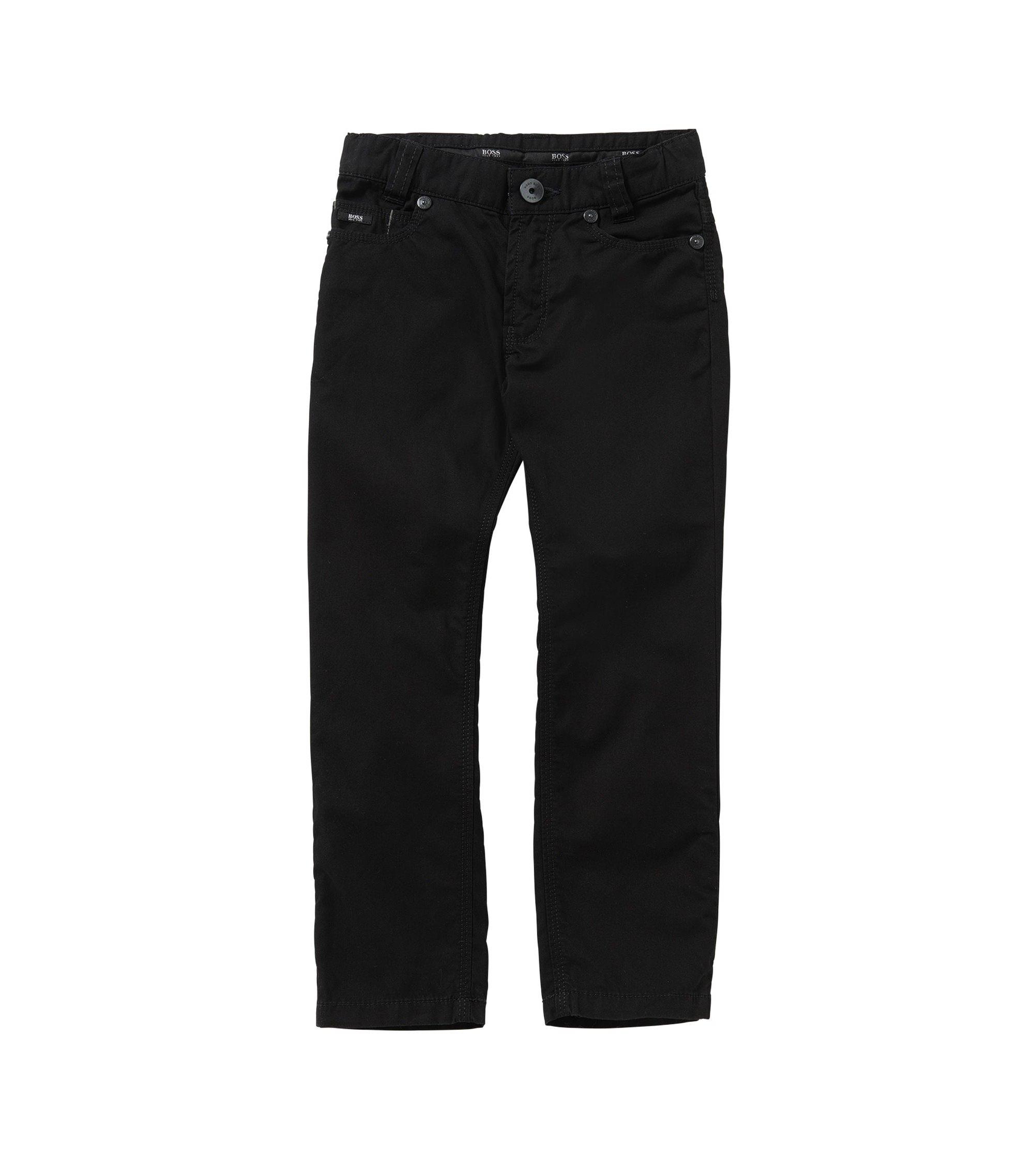 Unifarbene Slim-Fit Kids-Hose aus Baumwolle: 'J24393', Schwarz