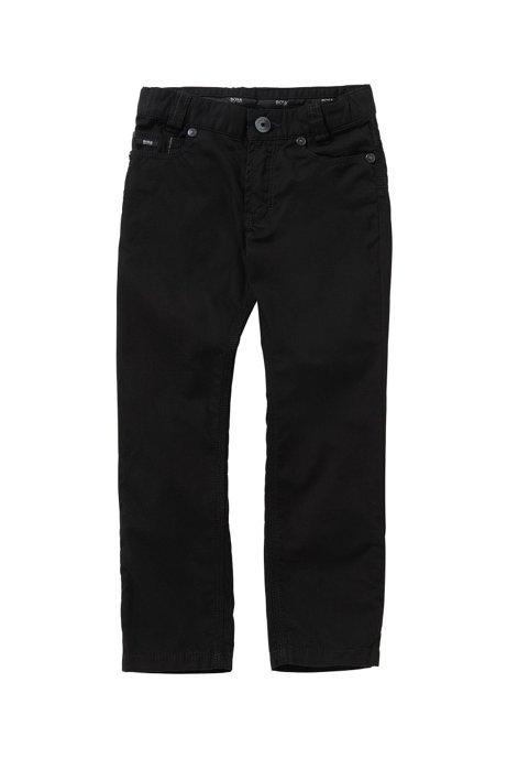 Effen slim-fit kinderbroek van katoen: 'J24393', Zwart