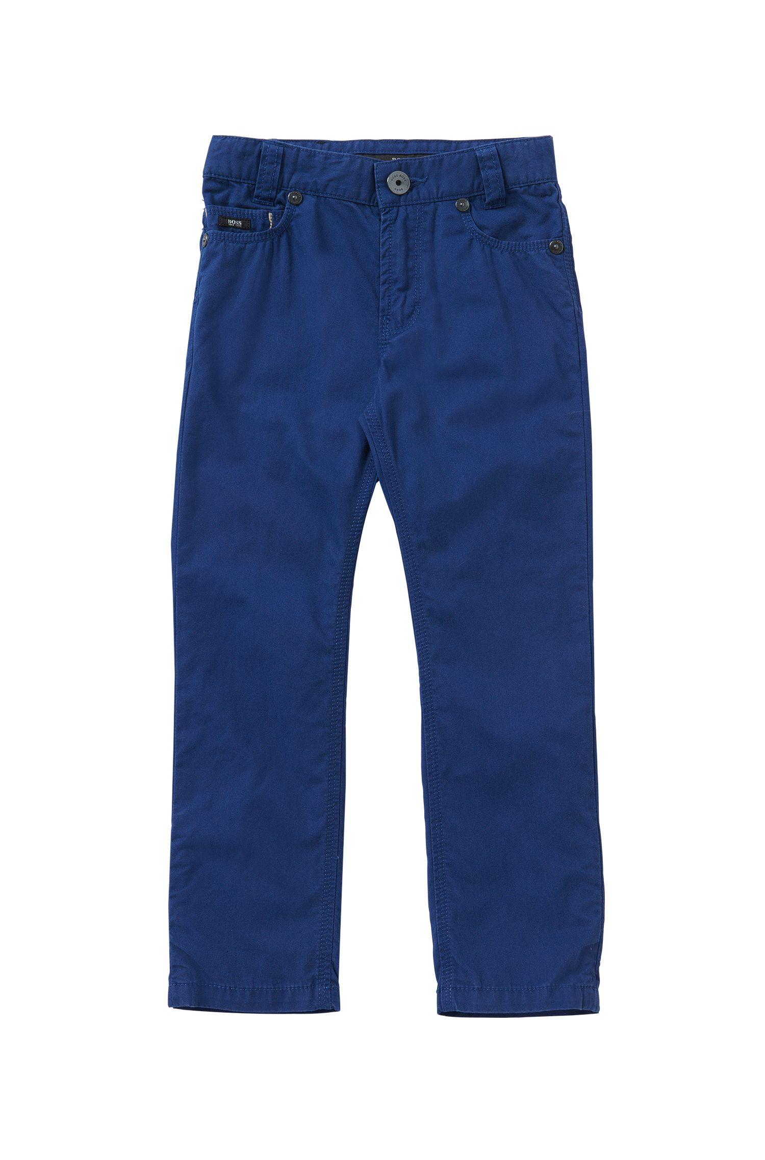 Plain-coloured slim-fit kids' trousers in cotton: 'J24393'