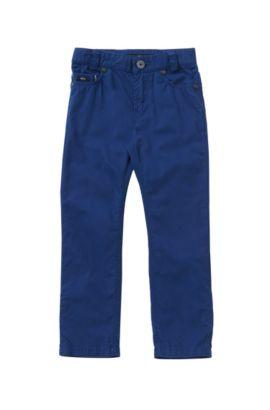 Plain-coloured slim-fit kids' trousers in cotton: 'J24393', Dark Blue