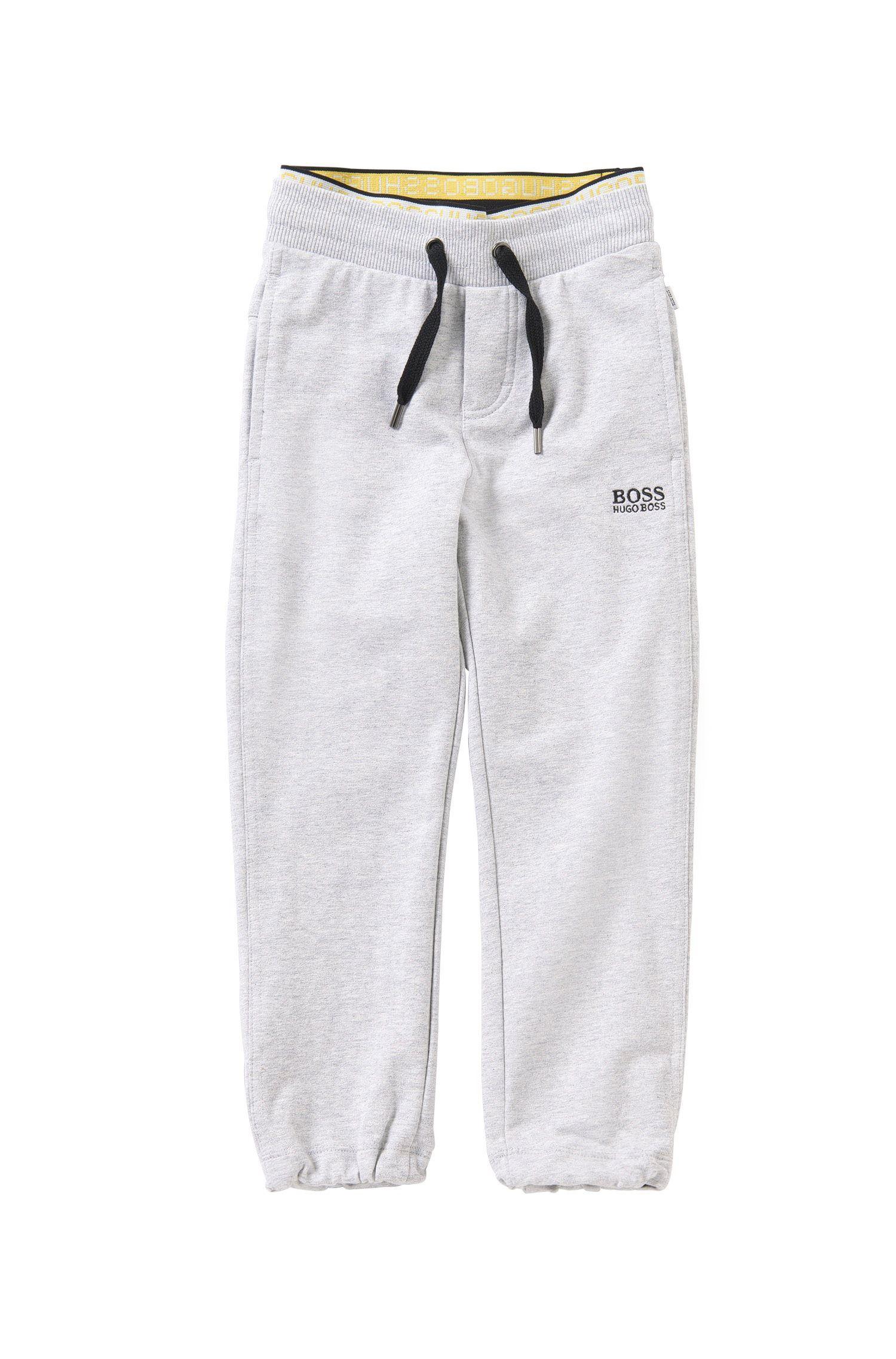 Pantalon sweat pour enfant en coton stretch avec cordon de serrage à la taille: «J24398»