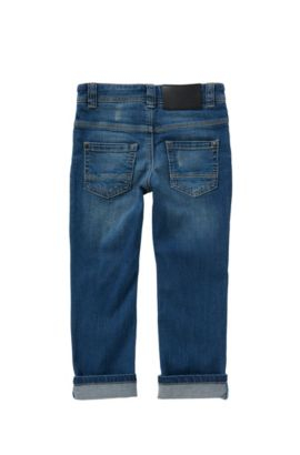 Slim-fit kids' jeans in stretch cotton: 'Montana', Blue