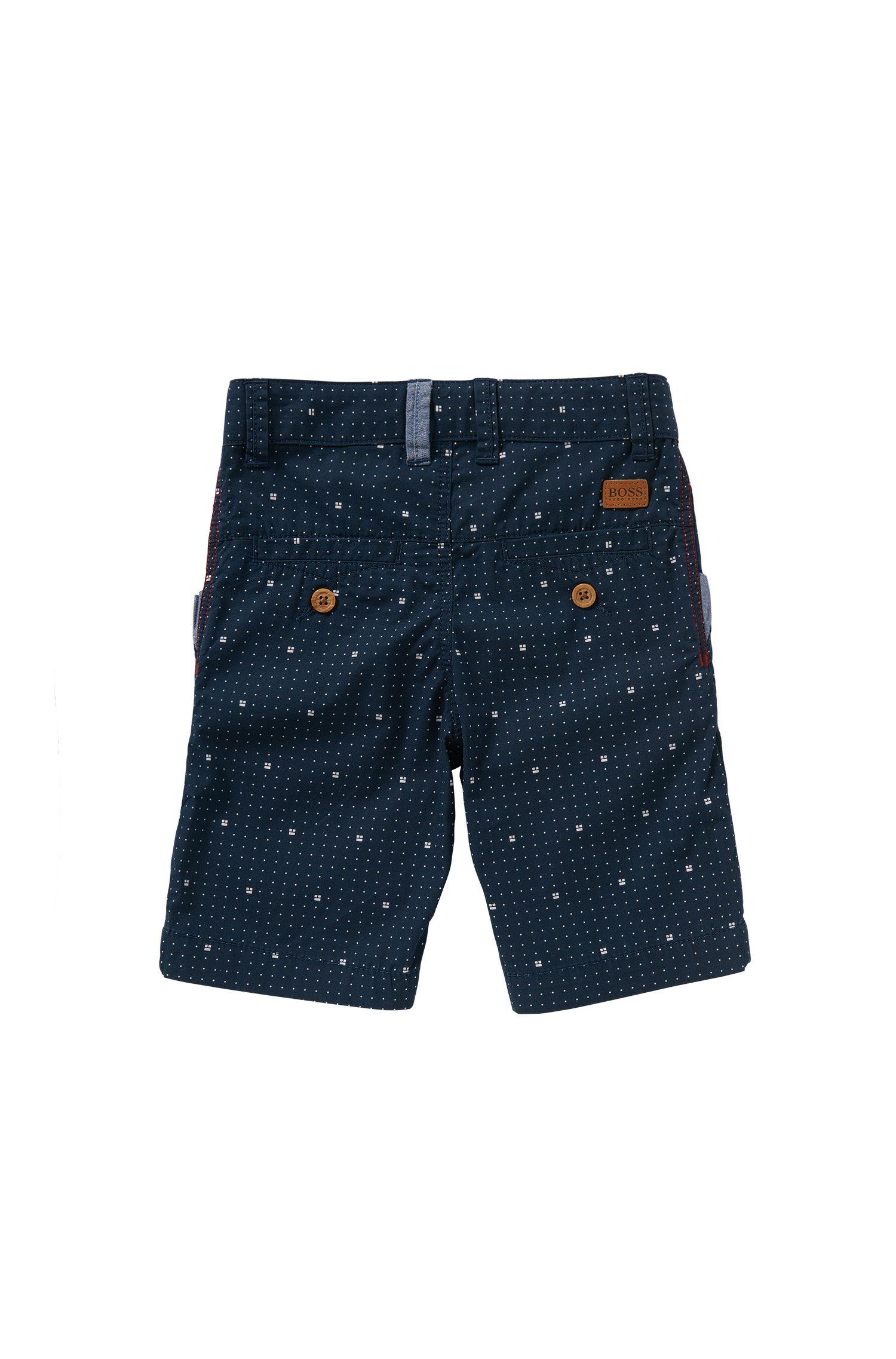 Regular-Fit Kids-Shorts aus gemusterter Baumwolle: 'J24408'