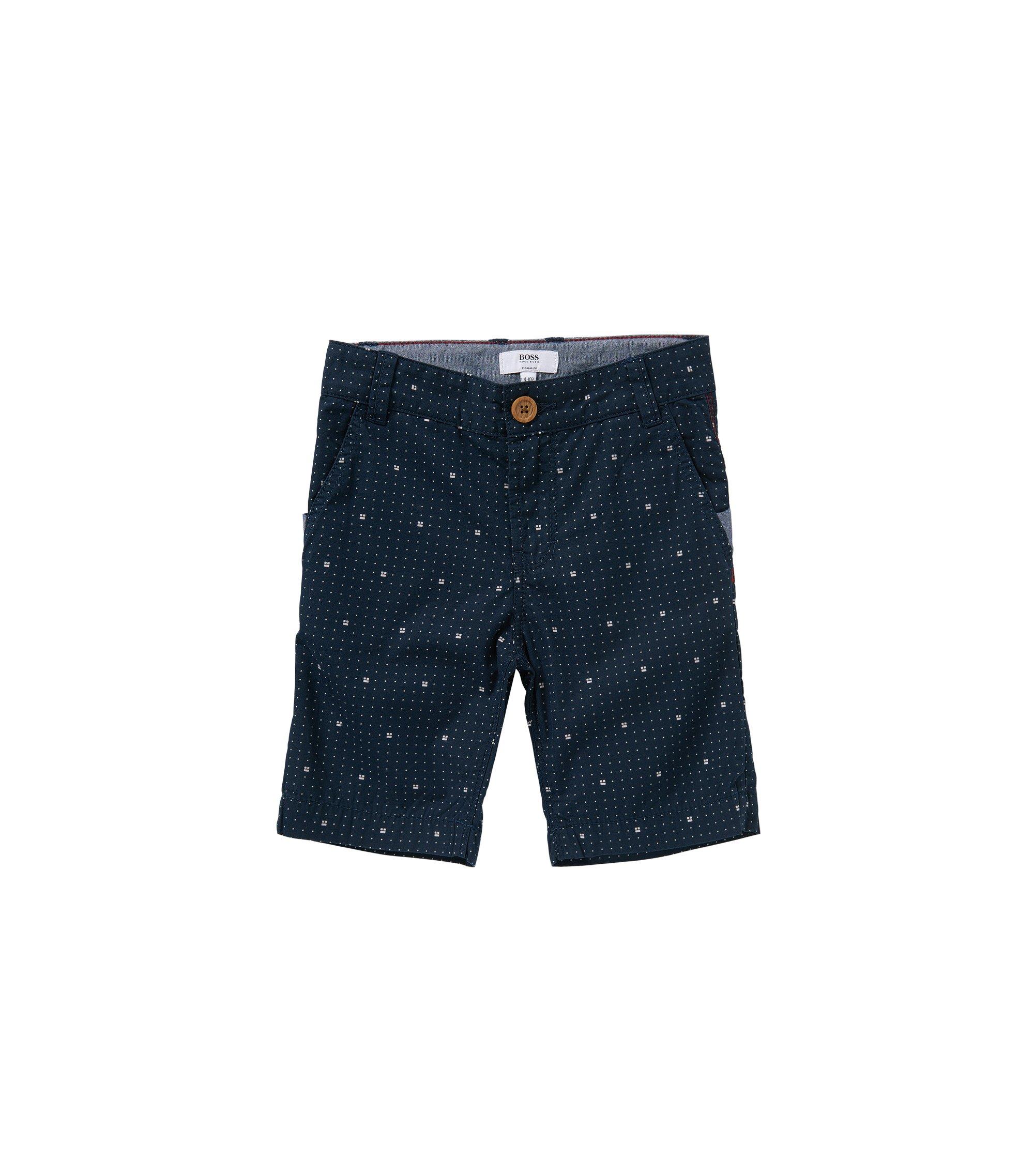Regular-Fit Kids-Shorts aus gemusterter Baumwolle: 'J24408', Dunkelblau