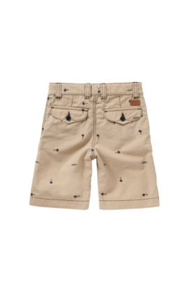 Regular-fit kids' shorts in cotton with embroidery: 'J24410', Beige