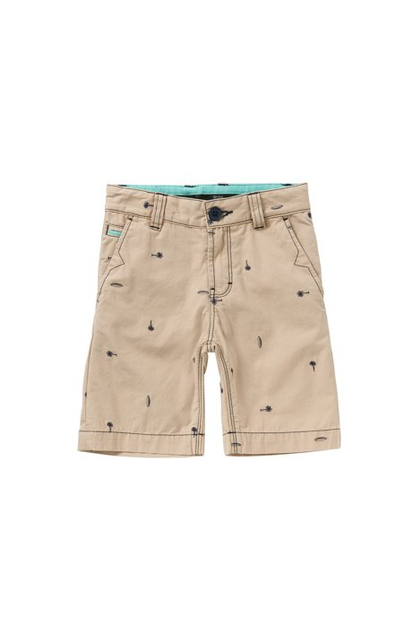 Shorts regular fit en algodón con bordado para niño: 'J24410', Beige